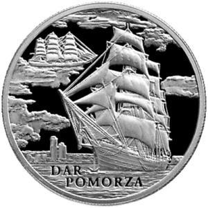 Belarus 2009, THE DAR POMORZA Sailing Ship, 20 rubles, Silver, Hologram