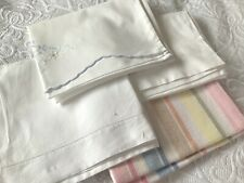More details for 4 vintage pillowcases asst sizes & designs linen, cotton, embroidered