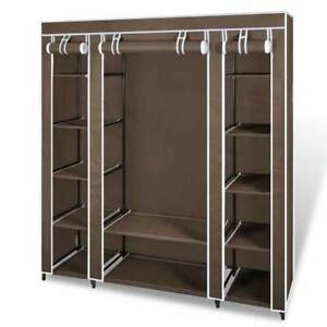 Wardrobe with Compartments and Rods 45x150x176 cm Brown Fabric