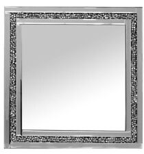 Gatsby Silver Square Wall Mirror With Diamond Like Crystals Edging 60cm X 60cm