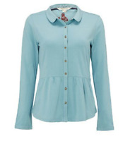 Ex White Stuff Aqua Button Up Blouse Shirt Size 8  (W3.13)