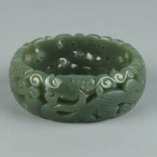 Chinese Exquisite Hand-carved Dragon phoenix Carving Hetian jade bracelet