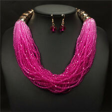 Boho Beads Necklace and Earrings Jewelry Set for Women Multi-layer Necklaces Rose
