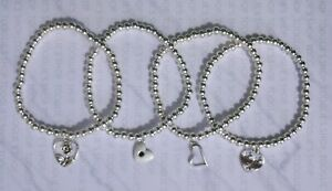 HANDMADE SILVER PLATED STACKING BEAD STRETCH BRACELET WITH HEART CHARM (007)