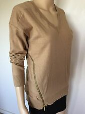 Michael Kors long sleeve sweater top brown gold cotton polyester angora size S