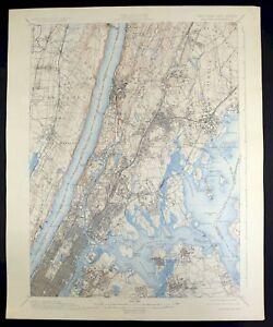 1900 Harlem New York New Jersey New York Vintage USGS Topographic Topo Map