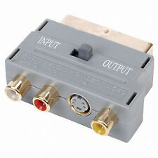 Pack Of 2, Scart  Plug Adaptor Gold  3x RCA Phono S-VHS S-Video In/Out Switch