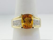 Estate Citrine Diamonds Solid 14k Yellow Gold Ring FREE Sizing