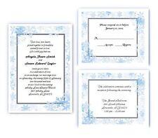 100 Personalized Custom Winter Border Snowflake Bridal Wedding Invitations Set