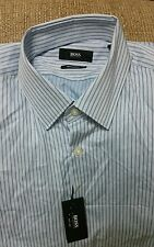 "New Hugo Boss Dress Shirt ""Gullo"" Blue Striped Pure Cotton 15.5"" Retail £105"