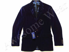 New Ralph Lauren Polo Navy Blue 100% Cotton Velvet Sport Coat Jacket Slim  40 R
