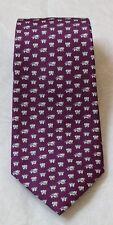 "Jim Thompson Neck Tie Thai Silk Elephant Printed Purple 54""L NEW"