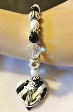 Nautical Heart Anchor Charm Black White Bead Silver Plate Stretch Bracelet New