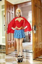 Sexy Wonder Woman Girl Costume w/Corset Outfit for Cosplay Halloween (Size : S)