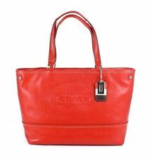 NWT Coach Hampton Weekend Perforated Leather Tote Handbag in Carnelian #19391