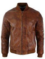 Mens Tan Brown Vintage Real Leather Bomber Pilot Jacket