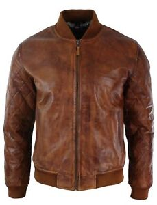 Mens Tan Brown Vintage Real Leather Bomber Pilot Jacket