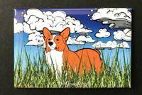 Corgi Dog Candy Corn Halloween Magnet Handmade Seasonal Gifts and Autumn Decor