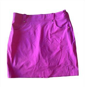 Ralph Lauren Polo Golf Size 2 Magenta Skirt/Skort Zipper Side Zipper Back Pocket