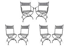6 Maison Jansen Style Mid Century Curule Wrought Iron Dining chairs