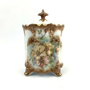 Hand Painted Biscuit Cookie Tobacco Canister Jar Lidded Vintage Signed Gold Edge
