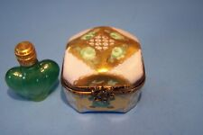 SQUARE LIGHT BLUE BOX ,BOTTLE, authentic FRENCH LIMOGES BOX  ( NEW  )