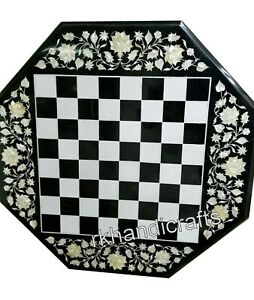 30 Inches Marble Coffee Table Top with MOP Art at Border Game Board table top