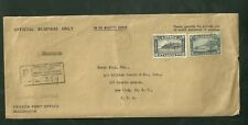 1947 Registered Canadian Cover On His Majesty's Service to Henry Koppa Esq. NYC
