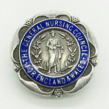 More details for vintage silver enamel badge general nursing council england & wales s.r.n. badge