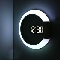 Digital LED Hollow 3D Wall Clock Modern Design Nightlight For Home Decorations