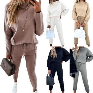 Ladies Tracksuit Set Long Sleeve Sweatshirt + Running Pants Trousers Loungewear