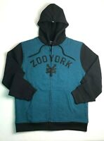 New ZOO YORK size Large Black & Seaport Blue Teal Fleece Lined Zip Front Hoodie