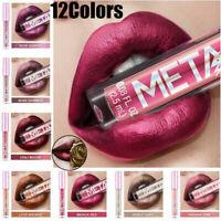 Waterproof Metallic Lipstick Liquid Glitter Shiny Lip Gloss LongLasting Cosmetic