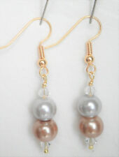 Champagne gold and silver 8mm glass pearl Approx.5cm drop Earrings
