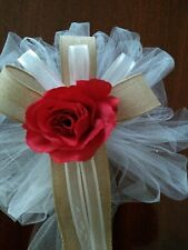 6 PC  burlap wedding pew bows white with red rose with burlap or any color