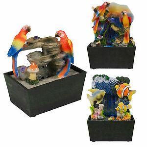 Table Top LED Light Waterfall Feature Indoor Home Water Pump Fish Parrot Bird
