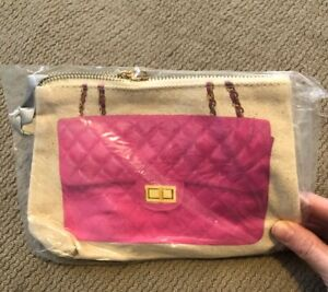 NWT THURSDAY FRIDAY ZIP TRAVEL POUCH MAKE UP BAG CANVAS RARE PINK CLUTCH CHANNEL