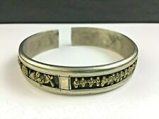 🔷 Antique Signed Chinese Silver w/ Gold Bracelet Immortals & Bats Qing Dynasty
