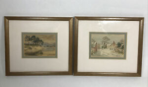 Vintage Miniature Watercolours Frairs Craig Derwentwater Country Scene Painting