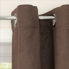 "Faux Suede Suedette Lined Eyelet Curtains 168x137cm  66x54"" Chocolate Mokate"