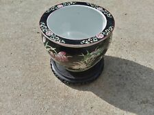 Rare Chinese Porcelain Fish Bowl Famille Noir Planter Tongzhi Mark Old