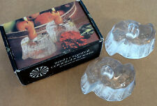 GALWAY IRISH CRYSTAL Vintage MID-CENTURY MODERN Art Glass CANDLE HOLDERS in BOX