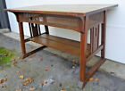 GREAT STICKLEY BROS. TRESTLE STYLE TABLE W/ CUTOUTS & OLD FINISH, EXCELLANT