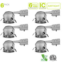 "6"" Inch Remodel Shallow LED Recessed Housing Lighting - Line Voltage - Pack of 6"