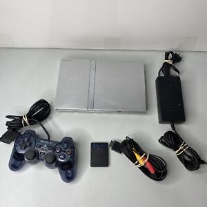 PlayStation 2 Slim PS2 Console Bundle Platinum Silver (1) Controller - Tested 1A