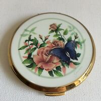 Vintage Stratton Convertible Compact Pink Roses Butterfly Original Box Gift