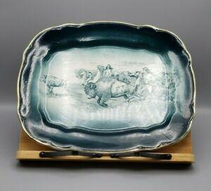 Vintage Buffalo Pottery Native Hunt / Hunting Scene Platter *READ DESC*