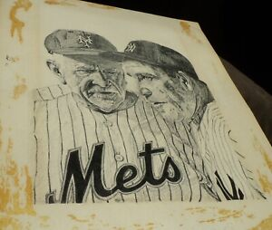 1960's Casey Stengel & Yogi Berra Illustration Pencil Drawing - NY Mets Yankees
