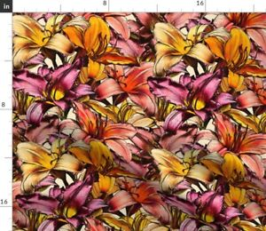 Floral Orange Illustration Magenta Drawing Day Spoonflower Fabric by the Yard