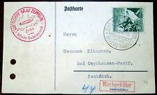 Karte 1. Postfahrt Luftschiff LZ 130 Graf Zeppelin Sudetenland Nachgebühr 1938
